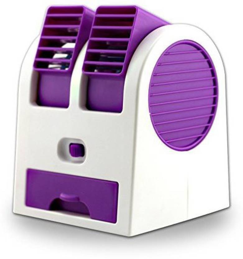 Active Dual Bladeless Mini Air Conditioner Cooling Fragrance Fan 4 Blade Table Fan(Purple)
