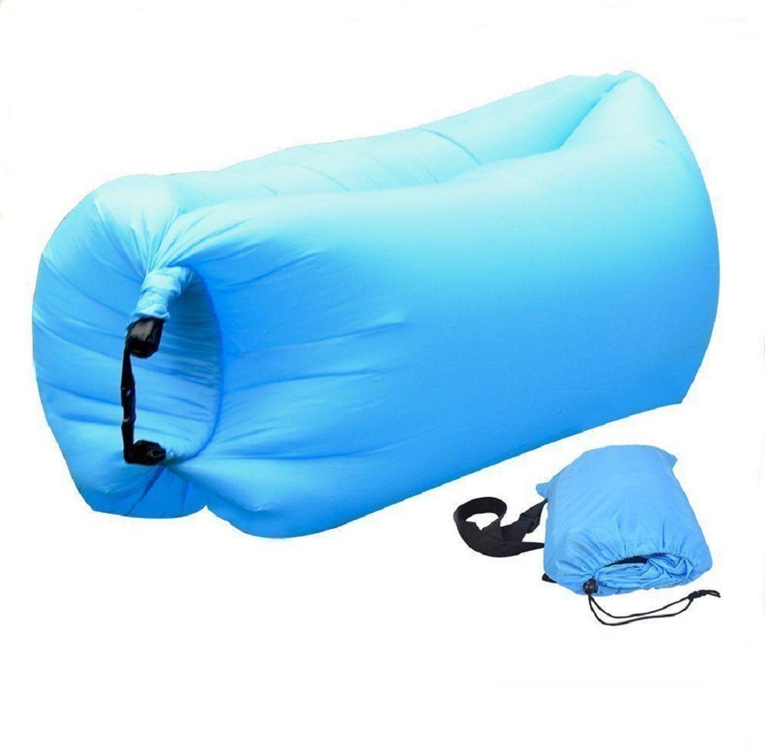 View PH Artistic Portable Hangout Lazy Air Bag Bed Polyester 3 Seater Inflatable Sofa(Color - Blue) Furniture (PH Artistic)