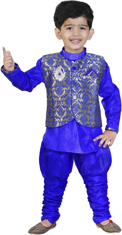 FTCBAZAR Boys Festive & Party Kurta and Pyjama Set(Blue Pack...