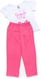 Tambourine Kids Nightwear Girls Printed Hosiery(White Pack of 1)