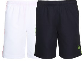 Aurro Short For Boys Sports Solid Polyester(Multicolor, Pack of 2)