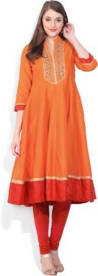 Biba Printed Women's Flared Kurta(Orange) at flipkart