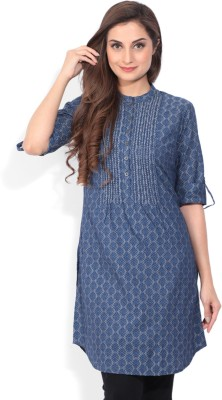 Biba Printed Women's Straight Kurta(Grey, Blue) at flipkart