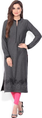 Biba Printed Women's Straight Kurta(Black, Grey) at flipkart