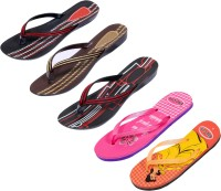 Indistar Women Black::Brown::Red:Black ::Orange:Yellow::Pink Sandals