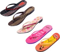 Indistar Women Pink ::Brown::Red:Black ::Orange:Yellow::Pink Sandals