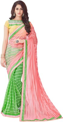 Onlinefayda Embroidered Fashion Net Saree(Pink, Light Green) at flipkart