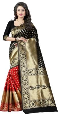 shoppershopee Woven Kanjivaram Banarasi Silk Saree(Black) at flipkart