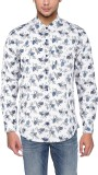 Revine Men's Printed Casual White Shirt