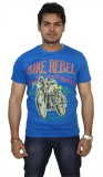 Zero Seven Printed Men's Round Neck Blue...