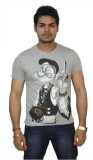 Zero Seven Printed Men's Round Neck Grey...