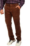 Allen Martin Slim Fit Men's Brown Trouse...