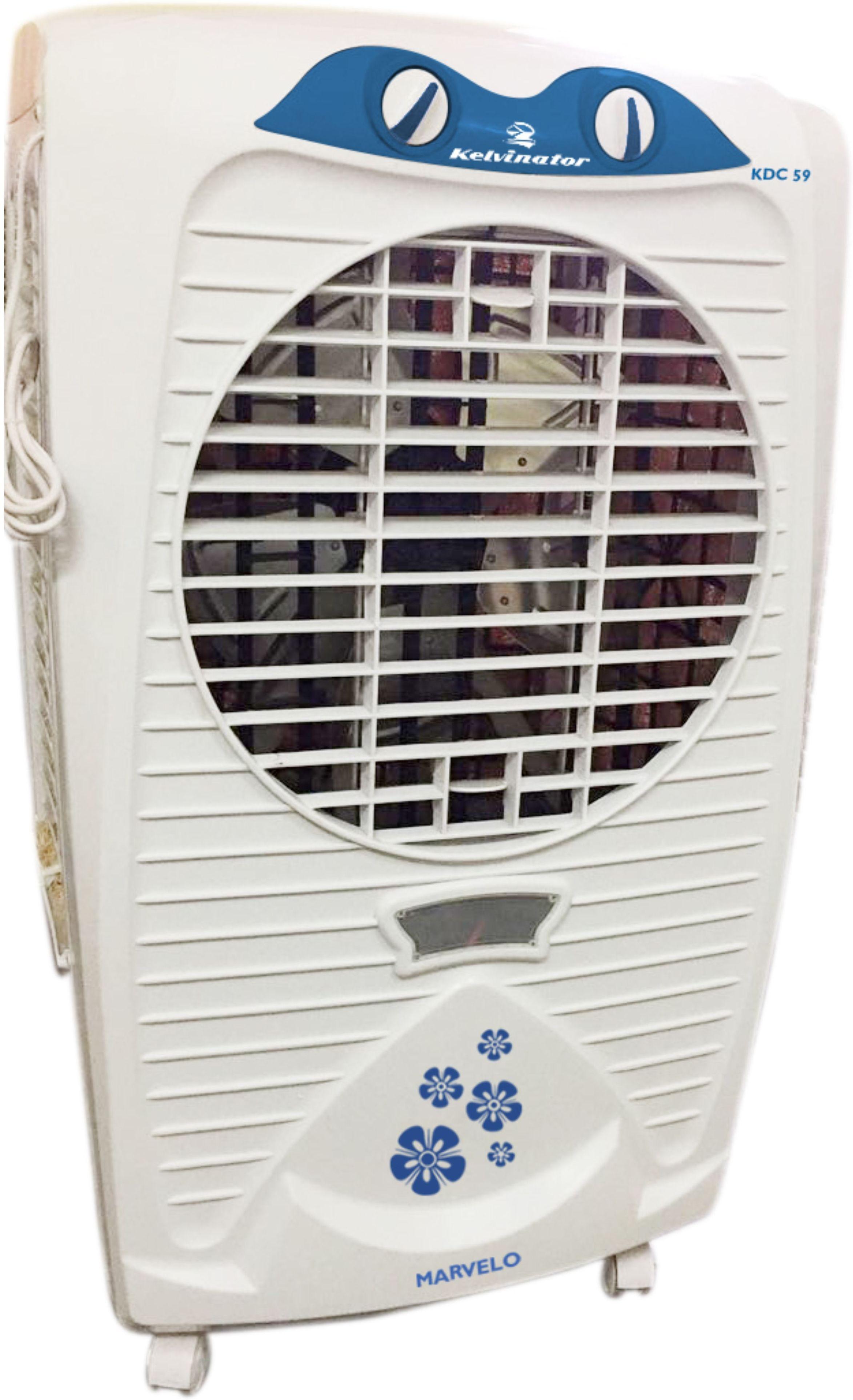 View Kelvinator Marvelo Air cooler Desert Air Cooler(White and blue body, 56 Litres) Price Online(Kelvinator)