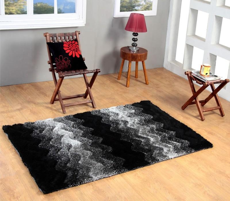 Excel Bazaar Black Polyester Carpet(150 cm  X 210 cm)