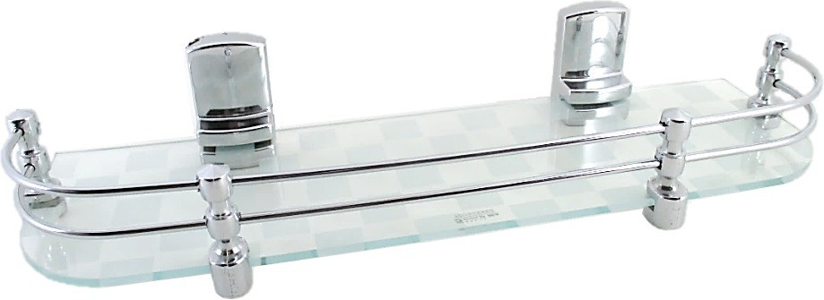 View RIC809 Long Hard Brackets White Pattern18 by 5 inch Glass Wall Shelf(Number of Shelves - 1, Clear, White) Furniture (RIC809)
