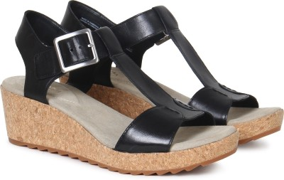 Clarks Women Black Leather Wedges at flipkart