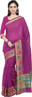 Saara Solid, Striped, Self Design, Printed Assam Silk Cotton, Silk Saree(Orange, Gold) at flipkart