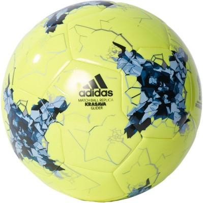 Adidas Confed Glider Football - Size: 5(Pack of 1, Solar yellow, Easy Blue, Core blue, Mystery Blue, Black, Silver Met)