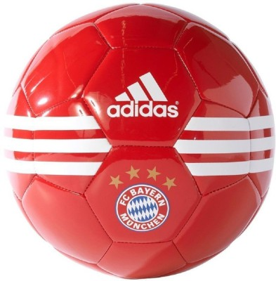 Adidas FC Bayern Football - Size: 5(Pack of 1, FCB True Red, White, Metallic Gold)