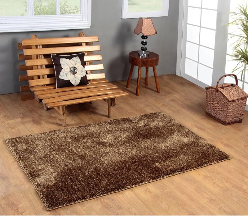 Excel Bazaar Gold Polyester Carpet(120 cm  X 180 cm)