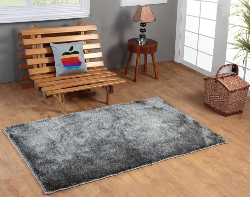 Excel Bazaar Grey Polyester Carpet(120 cm  X 180 cm)