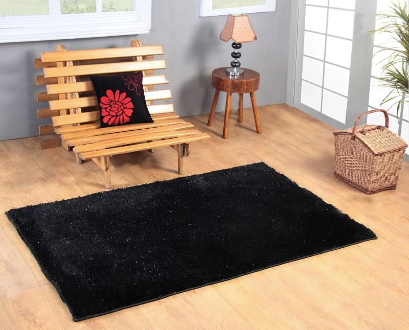 Excel Bazaar Black Polyester Carpet(120 cm  X 180 cm)