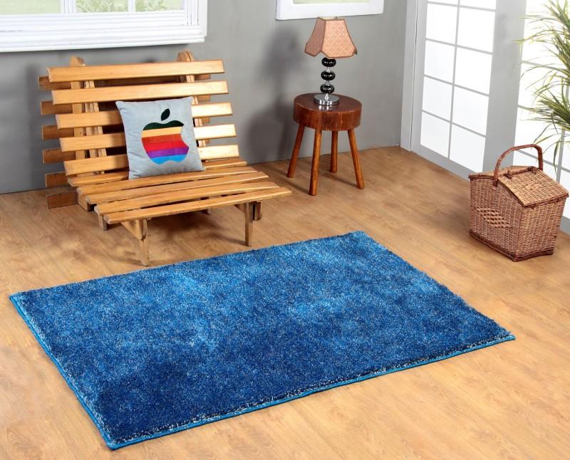 Excel Bazaar Blue Polyester Carpet(120 cm  X 180 cm)