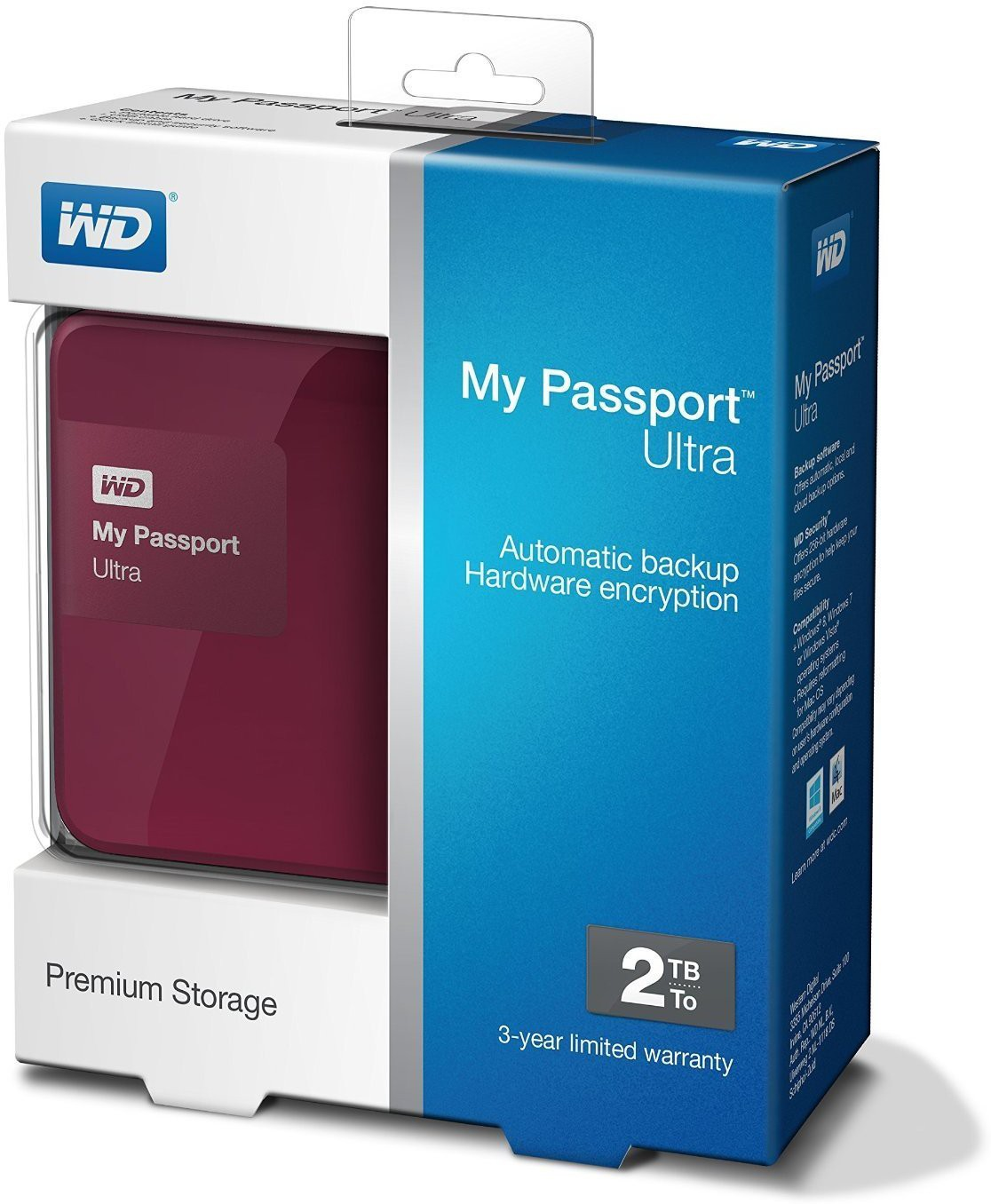 View wd 2 TB External Hard Disk Drive with  2 TB  Cloud Storage(Berry) Price Online(WD)