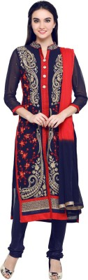 Saara Georgette Embroidered Semi-stitched Salwar Suit Dupatta Material at flipkart
