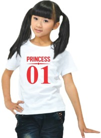 Giftsmate Girls Printed Cotton T Shirt(White, Pack of 1)