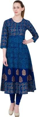 ZOEYAMS Printed Women's Anarkali Kurta(Light Blue) at flipkart