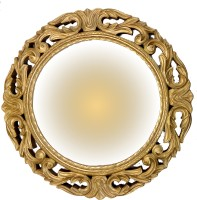 Akanksha Arts Golden Carved Decorative Mirror(Round)