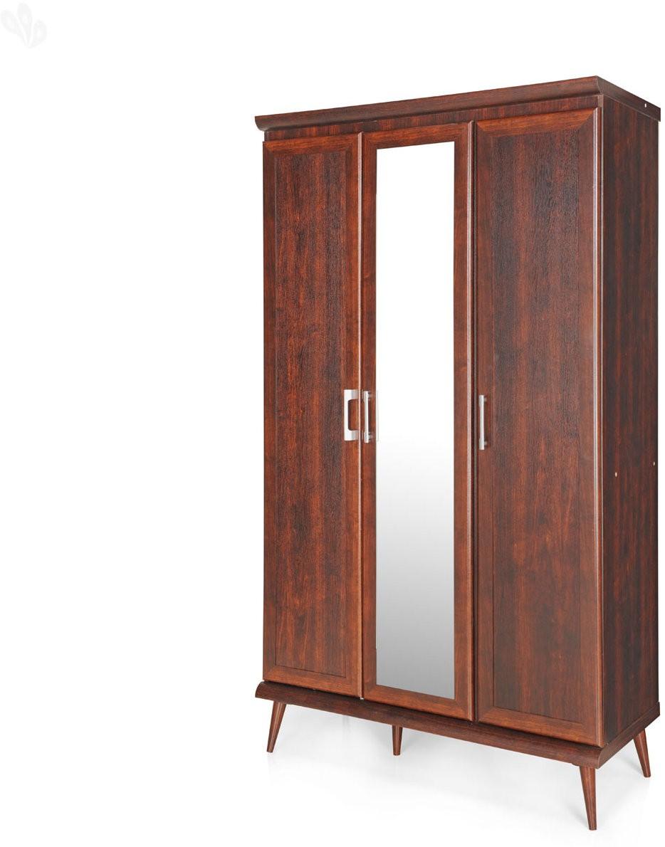View Berlynoak Kiwi Engineered Wood 3 Door Wardrobe(Finish Color - Walnut, Mirror Included) Furniture (Berlynoak)