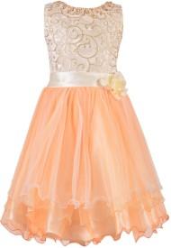 Aarika Baby Girl's Midi/Knee Length Party Dress(Orange, Sleeveless)