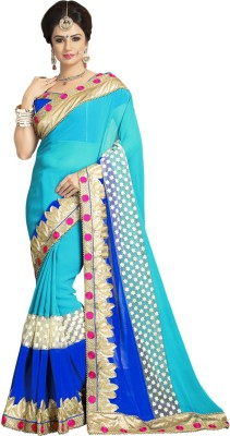 Saara Embellished, Floral Print, Embroidered Fashion Georgette Saree(Green, Blue) at flipkart