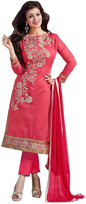 Jay Varudi Creation Chanderi Embroidered Semi-stitched Salwar Suit Dupatta Material