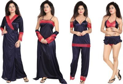 Noty Women's Nighty with Robe, Top and Capri(Dark Blue) at flipkart
