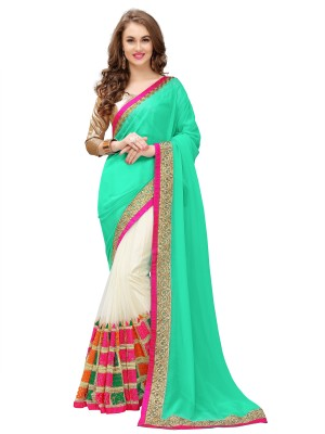 PANCHRATNA Embroidered Fashion Georgette Saree(Dark Green) at flipkart