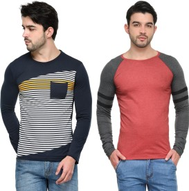Teesort Striped, Solid Men's Round Neck, Round Neck Multicolor T-Shirt(Pack of 2)