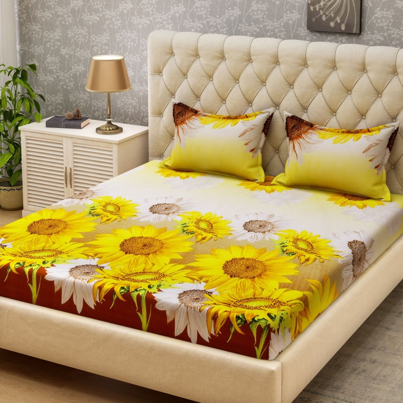 Bombay Dyeing Microfiber Printed Double Bedsheet(1 double sheet + 2...