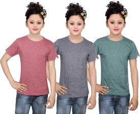 IndiWeaves Girls Solid Cotton T Shirt(Multicolor, Pack of 3)