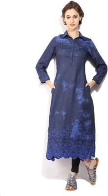Biba Printed Women's Straight Kurta(Blue, Light Blue, Multicolor) at flipkart