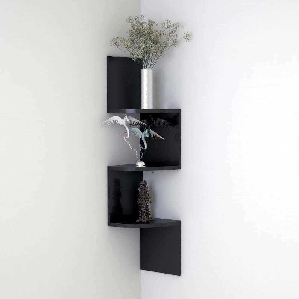 View BM Wood Furniture Zigzag Shaped 3 Curved Wall Corner Shelf - Black MDF Wall Shelf(Number of Shelves - 7, Black) Furniture (BM WOOD FURNITURE)