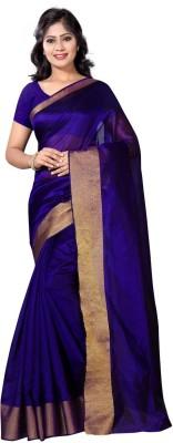 vimalnath synthetics Solid Fashion Cotton Saree(Blue)