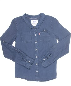 Levi's Girls Solid Casual Dark Blue Shirt