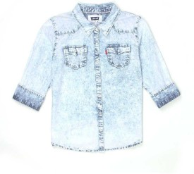 Levi's Girls Solid Casual Blue Shirt