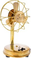 Khatushyam Metal Antique Fan handicraft for home decor working with battery and nokia standard charging point size (10 cm x 9 cm x 16.5 cm) Showpiece  -  16 cm(Brass, Gold)