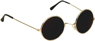 Lisburn SG_ROUND_Black_Lens_Gold_frame_1 Round Sunglasses(Black) at flipkart