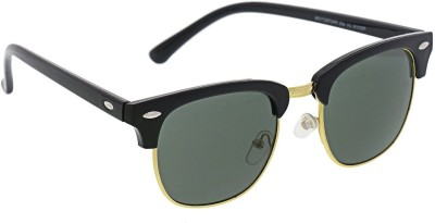 Lisburn SG_CLUBMASTER_BLACK_GOLD_GREY_1 Clubmaster Sunglasses(Green) at flipkart