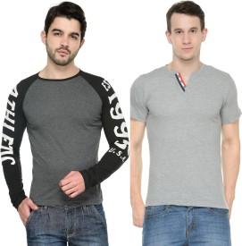 Teesort Solid, Graphic Print Men's Henley, Round Neck Grey, Grey T-Shirt(Pack of 2)